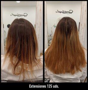 extensiones de pelo antes y después