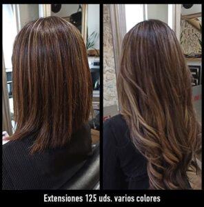 trabajos extensiones de pelo de varios colores