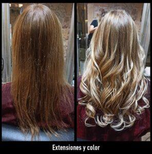 trabajos extensiones de pelo y color