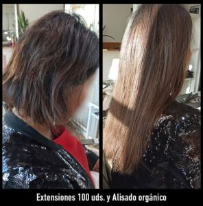 trabajos extensiones de pelo y alisado orgánico
