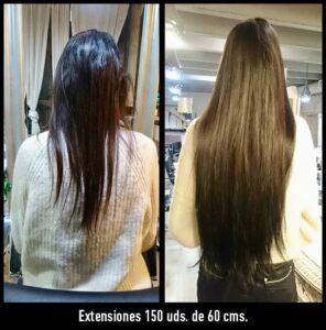 extensiones de pelo natural antes y después