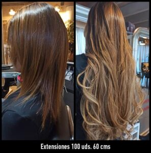 trabajos extensiones de pelo 60 cms